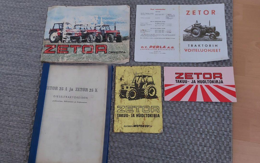 Zetor ohjekirjoja – varaosakirjoja ja muita kirjoja traktoreihin